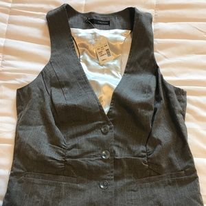 Grey with White pin strips vest